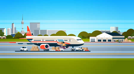 Avión de transporte entrega urgente preparación de vuelo avión aeropuerto carga aérea concepto de transporte internacional carretilla elevadora cargando cajas de paquetes ilustración vectorial horizontal plana Ilustración de vector