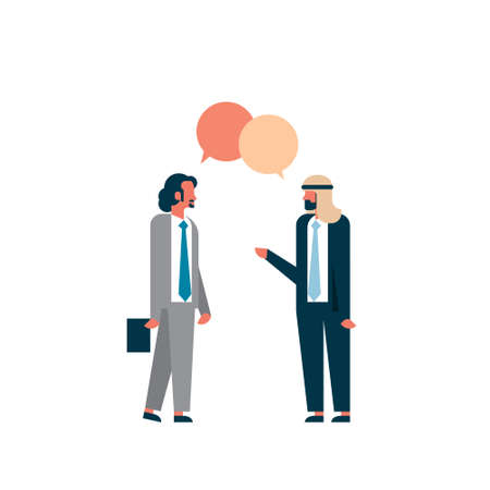 two arab businessmen combined chat bubble business negotiation concept man cartoon character silhouette full length flat isolated vector illustration