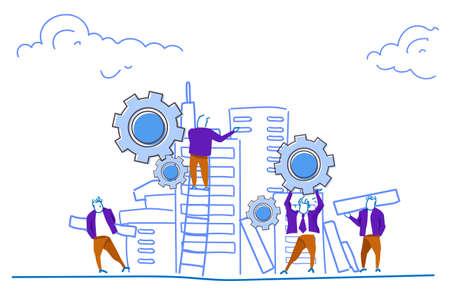 Menschen Gruppe Bau Haus Wolkenkratzer Arbeiter Teambuilding Prozess Zahnrad Teamwork Konzept horizontale Skizze Doodle Vektor Illustration
