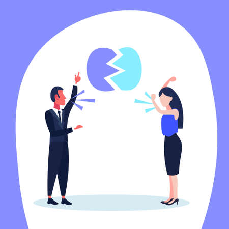 man woman quarrel business conflict situation people shouting each other dispute concept boss argue with employee hard working process cartoon character vector illustration
