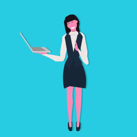businesswoman holding laptop online communication concept female cartoon character flat full length blue background vector illustration Illusztráció