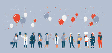 labor day people different occupations stand together communication celebration balloons concept gray background horizontal man woman cartoon characters vector illustration