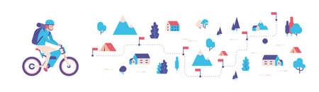 Man ride vélo électrique expédition sac à dos forest travel concept carte isométrique isolé télévision horizontale bannière vector illustration Vecteurs