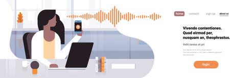 imprenditrice tenere telefono voce intelligente assistente personale riconoscimento onde sonore tecnologia concetto ufficio interni sfondo intelligenza artificiale orizzontale banner copia spazio piatto illustrazione vettoriale