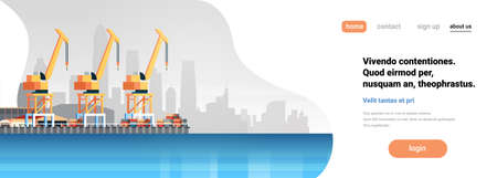Industrial sea port cargo logistics container import export crane water delivery transportation concept shipping dock flat horizontal banner copy space vector illustration