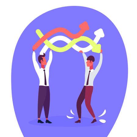 Dos hombres de negocios sosteniendo flechas de líneas curvas de colores concepto de dirección de negocios ilustración de vector de personaje de dibujos animados masculino plano Ilustración de vector