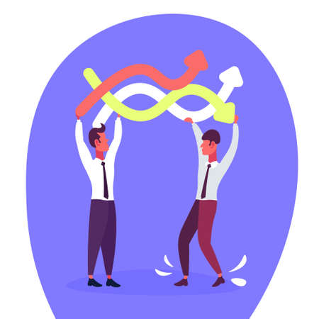 two businessmen holding curved colorful lines arrows business direction concept flat male cartoon character vector illustration