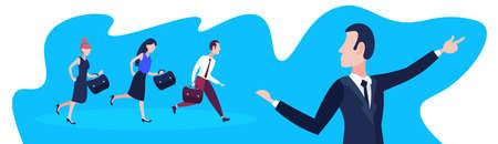 La gente de negocios siguiendo al líder del equipo empresario apuntando hacia la dirección del concepto de éxito del trabajo en equipo banner horizontal retrato de personaje de caricatura plana ilustración vectorial de longitud completa