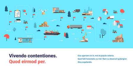 Logistics different delivery map drone cargo trucking maritime shipping transportation isometric distribution vehicles transportation concept flat horizontal banner copy space vector illustration Illustration