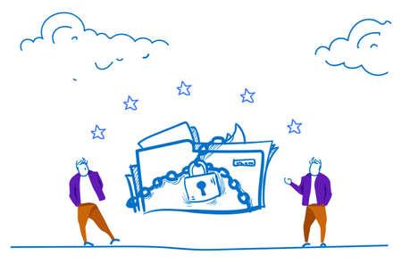 businessmen folder padlock General Data Protection Regulation GDPR server security guard over horizontal hand drawn sketch doodle vector illustration Ilustração