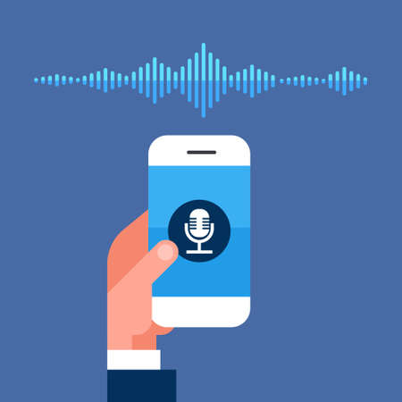 hand hold phone app intelligent voice personal assistant recognition sound waves technology concept smart ai speaker artificial intelligence speech flat vector illustration