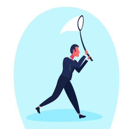 Businessman holding Butterfly net catch nouvelle idée concept personnage isolé pleine longueur horizontale plate illustration vectorielle