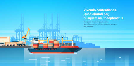 Industrial sea port cargo logistics container import export freight ship crane water delivery transportation concept shipping dock flat horizontal copy space vector illustration