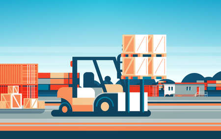 forklift loader pallet stacker truck equipment warehouse international delivery concept flat horizontal vector illustration