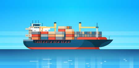Contenedor de logística de carga marítima industrial, importación, exportación, carga, barco, entrega de agua, transporte, concepto, envío internacional, plano, horizontal, vector, ilustración