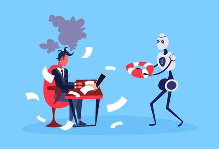 businessman hard working process robot hold lifebuoy bot helper artificial intelligence concept blue background full length flat vector illustration Ilustracja