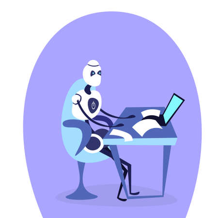 modern robot sitting office workplace using laptop bot helper artificial intelligence working concept cartoon character isolated full length flat vector illustration 矢量图像