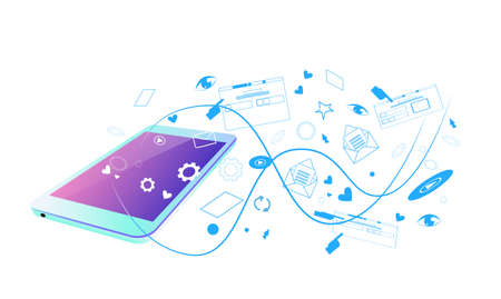 web browsing mobile app screen synchronization online application social network streaming sketch doodle horizontal vector illustration