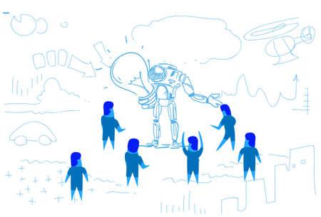 business people creating robot holding light lamp new idea concept artificial intelligence innovation teamwork success sketch doodle horizontal vector illustration