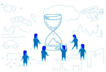 business people standing at sand clock time management concept teamwork brainstorming strategy horizontal sketch doodle vector illustration