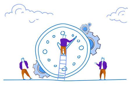 uomo d'affari scala rampicante orologio concetto di gestione del tempo persone impostare tempo squadra processo di lavoro schizzo orizzontale doodle illustrazione vettoriale Vettoriali
