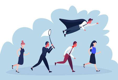 businessperson diversity poses hurry up business startup concept cartoon character man woman isolated full length flat horizontal vector illustration