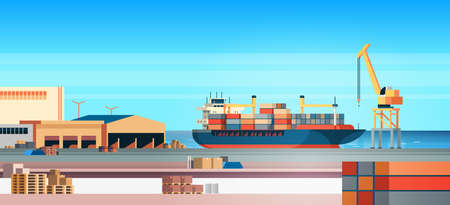 Industrial sea port cargo logistics container import export freight ship crane water delivery transportation concept shipping dock flat horizontal vector illustration
