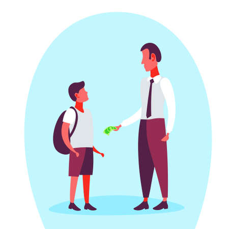 Businessman giving money dollar banknote his school boy pocket expenses budget concept full length cartoon character flat vector illustration