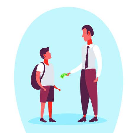 Homme d'affaires donnant de l'argent billet de banque en dollars son écolier dépenses de poche concept de budget pleine longueur personnage de dessin animé illustration vectorielle plane Vecteurs