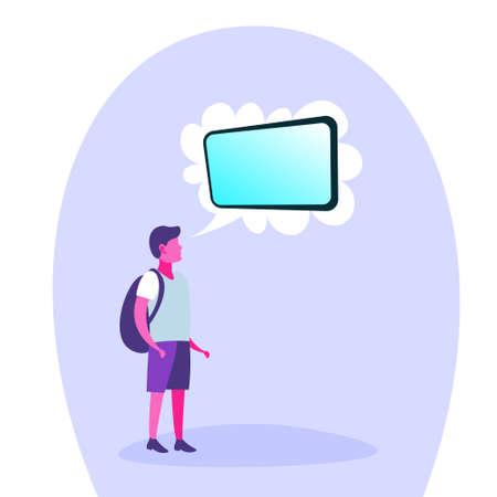 school boy thinking speech bubble tablet teenager dream concept isolated full length cartoon character flat vector illustration Illustration