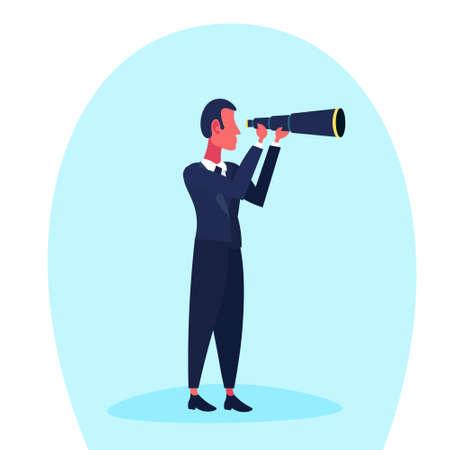 hombre de negocios, mirar, por, telescopio, hombre de negocios, visión, concepto, caricatura, carácter, plano, vector, ilustración