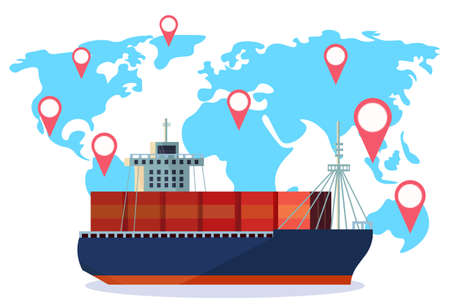 Industrial sea freight ship cargo logistics container world map geo tag navigation import export water delivery transportation concept international shipping flat horizontal vector illustration
