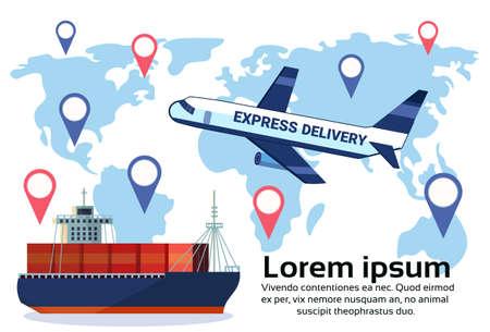 Conjunto de etiquetas geográficas de logística de diferentes camiones de carga aérea de entrega, transporte marítimo, transporte, ubicación, distribución, vehículos, transporte internacional, concepto, plano, horizontal, espacio de copia, vector, ilustración