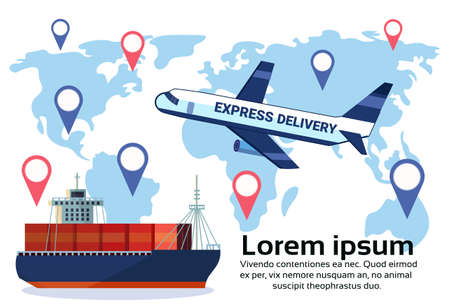 Logistics geo tag set of different delivery air cargo trucking maritime shipping transportation location distribution vehicles international transportation concept flat horizontal copy space vector illustration Illustration