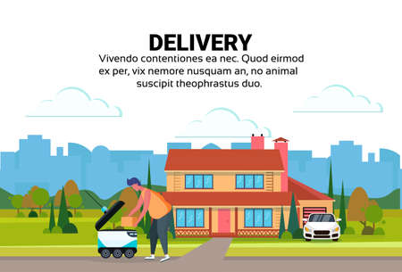 man loading box robot self drive fast delivery goods house yard exterior background city car robotic carry concept copy space flat vector illustration
