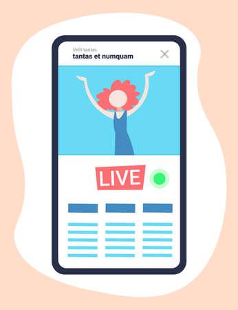mobile application girl vlogger channel live streaming video blogger vlog concept flat vertical vector illustration Ilustração