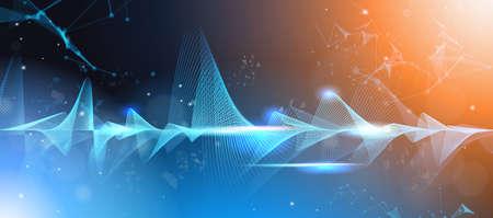 music waves equalizer musical bar dark background digital wave tech concept horizontal vector illustration