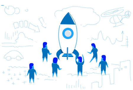 business people standing at launching rocket startup project concept teamwork brainstorming strategy horizontal sketch doodle vector illustration