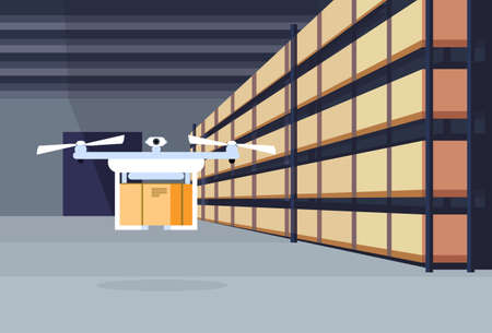 delivery drone flying air shipment warehouse interior parcel box on rack logistic cargo service concept rows shelves goods storage horizontal flat vector illustration