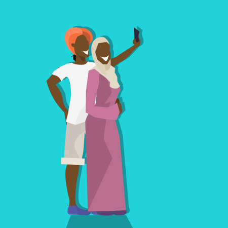 african couple hipsters making selfie on rest man woman taking photos smartphone cartoon character vacation concept flat full length vector illustration Standard-Bild - 106350903