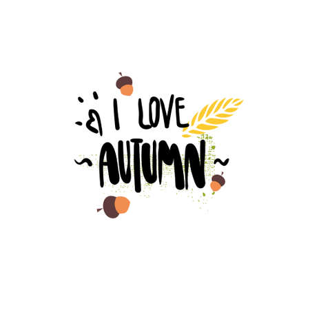 i love autumn badge isolated design label season lettering for logo templates invitation greeting card prints and posters vector illustration