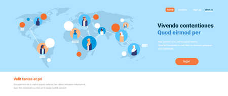 arabic people on world map chat bubbles global communication arabian team connection concept avatar arab man woman faces flat copy space horizontal banner vector illustration