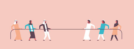 tug of war arabic people team pulling opposite ends of rope against each other cartoon character arab man woman banner flat vector illustration