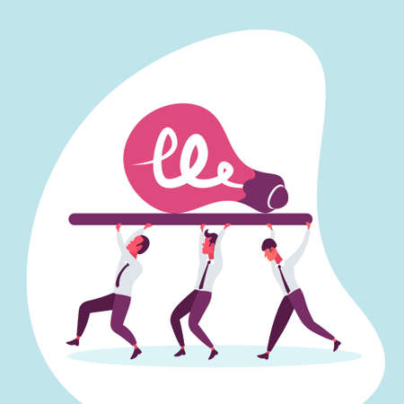 Business people team carry light lamp icon new idea innovation project concept successful teamwork businessman cartoon character flat vector illustration Vector Illustration