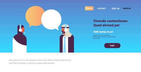 arabic couple chat bubbles communication support speech dialogue call center concept arab man woman character background portrait copy space horizontal flat vector illustration Banco de Imagens - 111585722