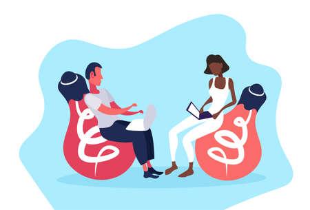 mix race couple sitting light lamp using laptop online generation new ideas innovation concept man woman cartoon character horizontal flat vector illustration Illustration