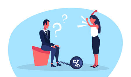 business man question marks chain bound leg credit debt finance crisis concept woman boss angry shouting conflict flat full length horizontal vector illustration