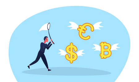 businessman holding butterfly net catch dollar euro bitcoin money growth wealth exchange concept male cartoon character full length flat horizontal vector illustration