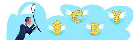 businessman holding butterfly net catch dollar euro yuan bitcoin money growth wealth exchange concept male cartoon character portrait flat horizontal banner vector illustration