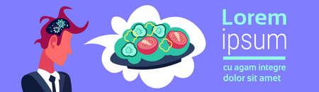 businessman brain cogwheel process thinking about vegetable salad dream lunch concept cartoon character profile portrait flat horizontal banner copy space vector illustration Standard-Bild - 111585760